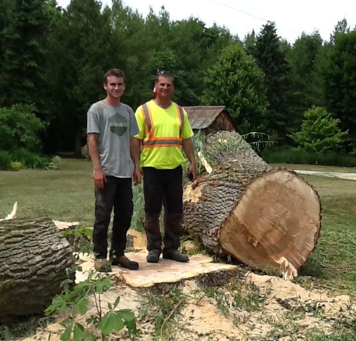 two men standing next to a tree trunk